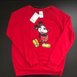 Disney Mickey Mouse Red Sequin Long Sleeve Top